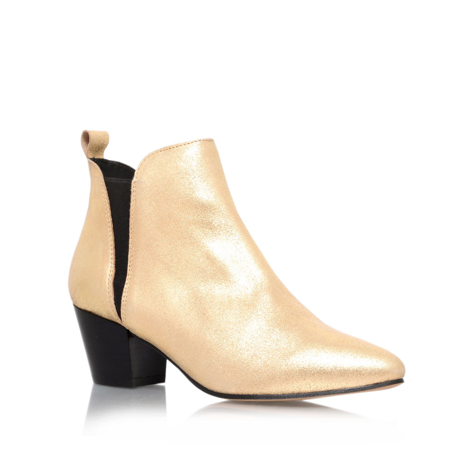Saffron leather almond toe block heel ankle boots