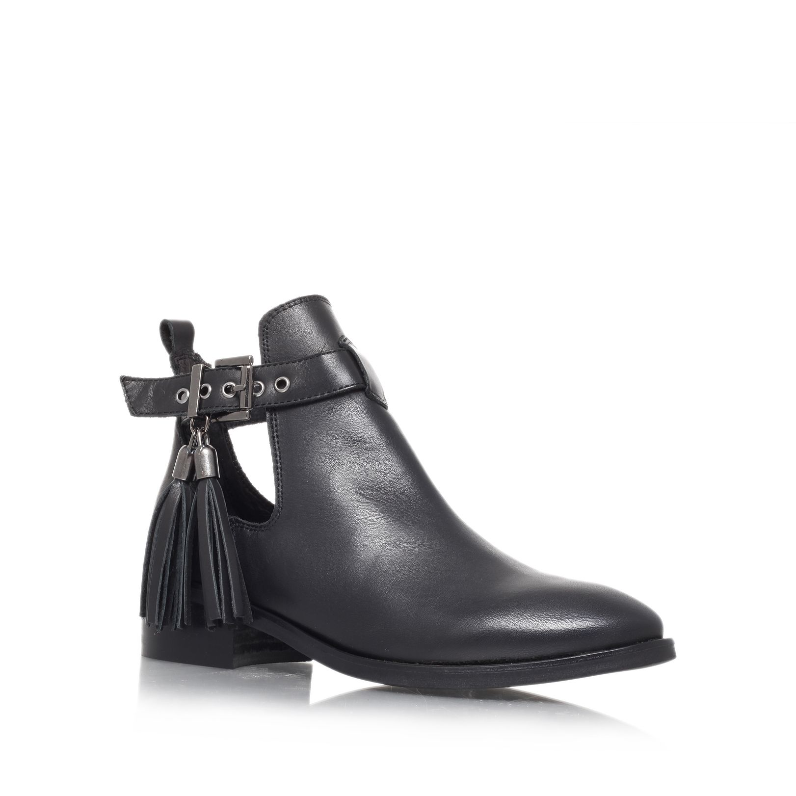 Steep low heel ankle boots