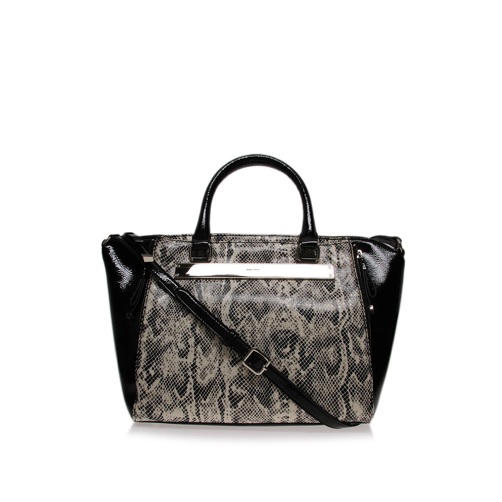 Borderline black and white satchel