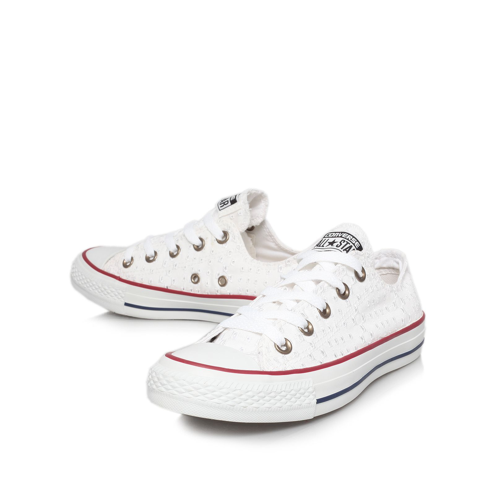 Ct eyelet flat lace up trainers
