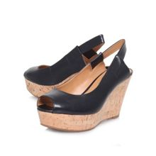 Cantalope wedge peep toe court shoes