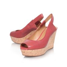 Cantalope wedge heel peep toe shoes