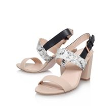 Shadow combination mid heel sandals