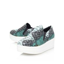 Lizard flat platform slip on trainers