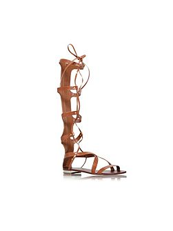 Kiki flat strappy knee high sandals
