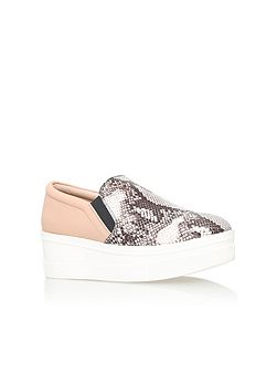 Lizard flat platform slip on shoes