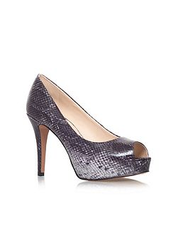 Camya3 high heeled peep toe court shoes