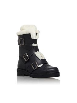 Snow low heel biker boots