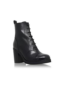Snap mid block heel lace up ankle boots