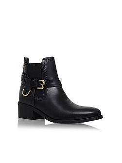 Saddle buckle ankle boots