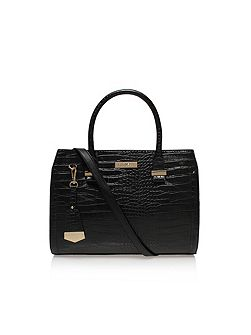 Holly croc zip shoulder strap tote bag
