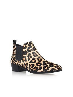 Shaw flat pull on printed ankle boots