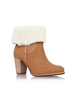 Charlee high heel fur cuff ankle boots