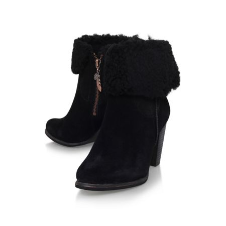 ugg charlee high heel fur cuff ankle boots black house