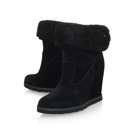 ugg kyra wedge heel boots with fur cuff black house of