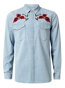 Topman Long Sleeve Denim Shirt With Embroidery