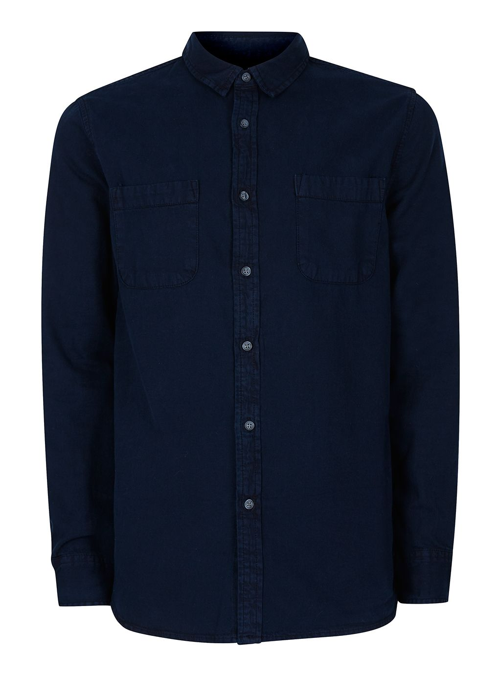 Mens Topman LONG SLEEVE WASHED TWILL CASUAL SHIRT Blue