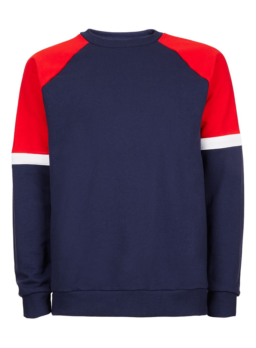 Men's Topman Navy/Red Panel Sweatshirt, Multi-Coloured