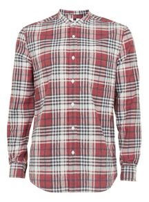 Topman Long sleeve checked stand collar shirt