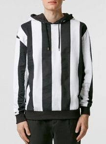 Topman Long sleeve patterned overhead hoodie.
