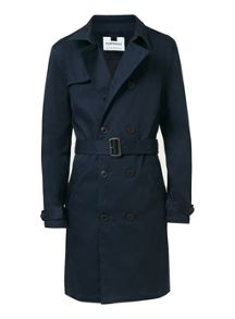 Topman Navy Trench Coat