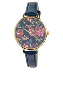 Accessorize Floral printed face leather watch