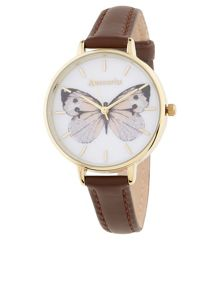 Accessorize Butterfly printed face leather watch