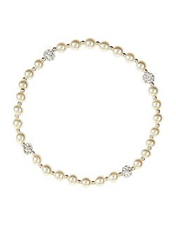 Sterling silver pearl and pave bracelet