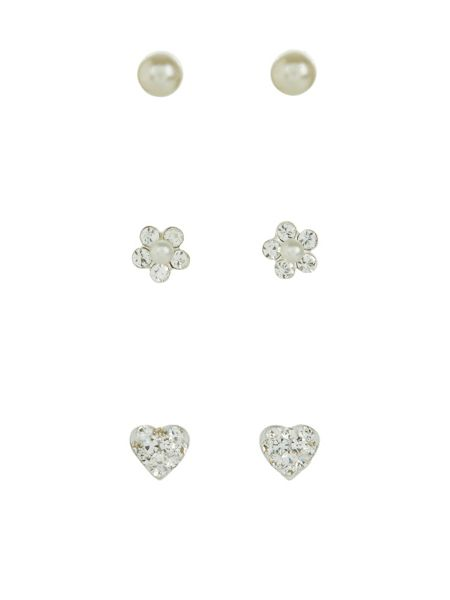 Accessorize Sterling silver 3x pearl floral earrings