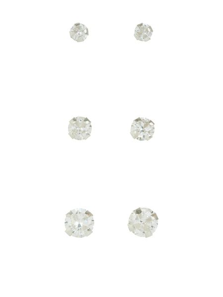 Accessorize Sterling silver 3x crystal stud earrings