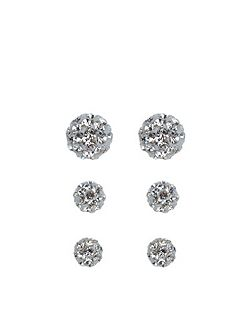 Sterling silver 3 x pave ball earrings