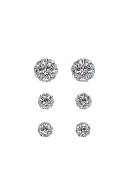 Accessorize Sterling silver 3 x pave ball earrings