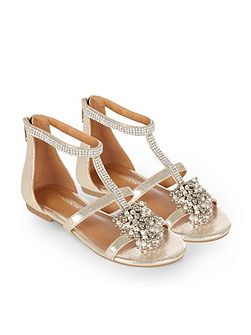 Girls Beaded Pom Pom Shimmer Sandal