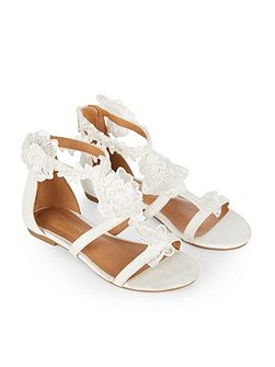 Girls Lace & Pearl Flower Sandal