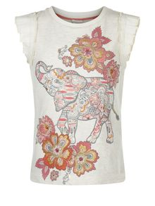Monsoon Girls Marigold Elephant Tee