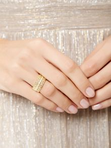 Accessorize Gold plated filigree band ring