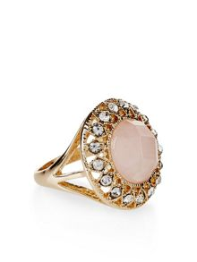 Accessorize Claudia gold plated rose quartz ring