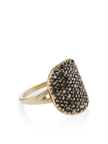Accessorize Gold plated naomi haematite sparkle ring