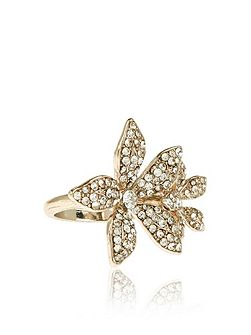 Beth crystal flower cocktail ring