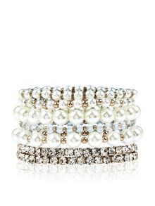 Accessorize 7 x pearl and crystal stretch pack