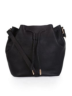 Leather slouchy drawstring duffle bag