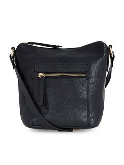 Leather zip pocket across body bag