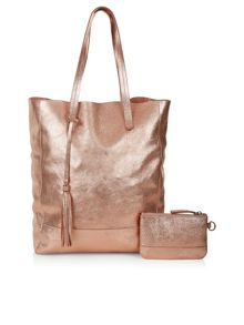 Accessorize Leather panel shopper bag
