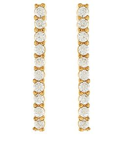 Delicate pave bar earrings