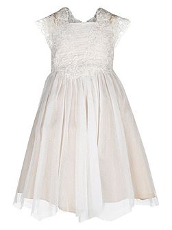 Girls Estella Flower Crochet Dress