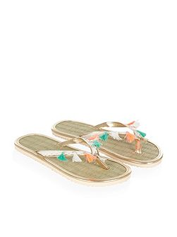 Girls Bead Tassel Seagrass Flip Flop