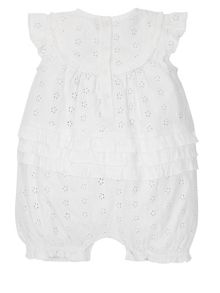 Monsoon Newborn Girl Broderie Jersey Romper