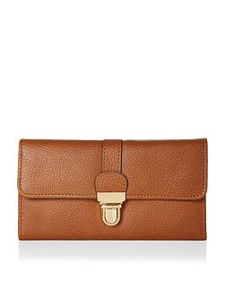 Leather long push lock wallet