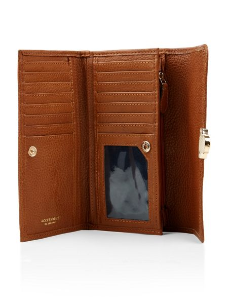 Accessorize Leather long push lock wallet