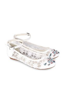 Girls Lace Ankle Strap Ballerina Shoe